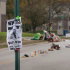 A view of the Michael Brown Memorial on Canfield Dr. Monday morning with a haunting wanted poster of Ferguson Police officer Darren Wilson, in the foreground.  File photo