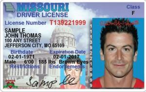 A sample Missouri driver's license.
