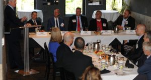Jeff Simon of Husch Blackwell, left, moderates Missouri Lawyers Weekly's Corporate Counsel Round Table, held at Café Trio in Kansas City on Friday, Sept. 8, 2017. Members of Kansas City's legal community got tips and advice on the role of in-house lawyers from panelists, left to right, Scott W. Andreasen of H&R Block, Mike Allen of Sprint, Alex Bachelor of Dairy Farmers of America, Dennis R. Schapker of Black & Veatch and Mark R. Coulter of Port KC. The next Corporate Counsel Round Table is on Sept. 15 in Springfield. Photo by Scott Lauck