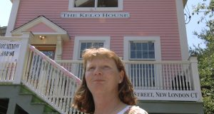 Susette Kelo fought the seizure of her little pink house through eminent domain in the U.S. Supreme Court. The home was moved to a new location in New London, Connecticut, after she lost the 5-4 decision that is now the topic of a film. AP Photo by Jessica Hill, File