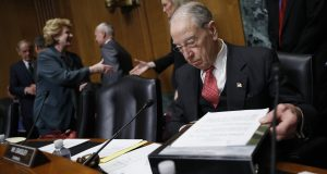 Sen. Chuck Grassley, R-Iowa, chairman of the Senate Finance Committee is seated before a hearing on drug prices, Tuesday on Capitol Hill in Washington, D.C. AP Photo by Jacquelyn Martin