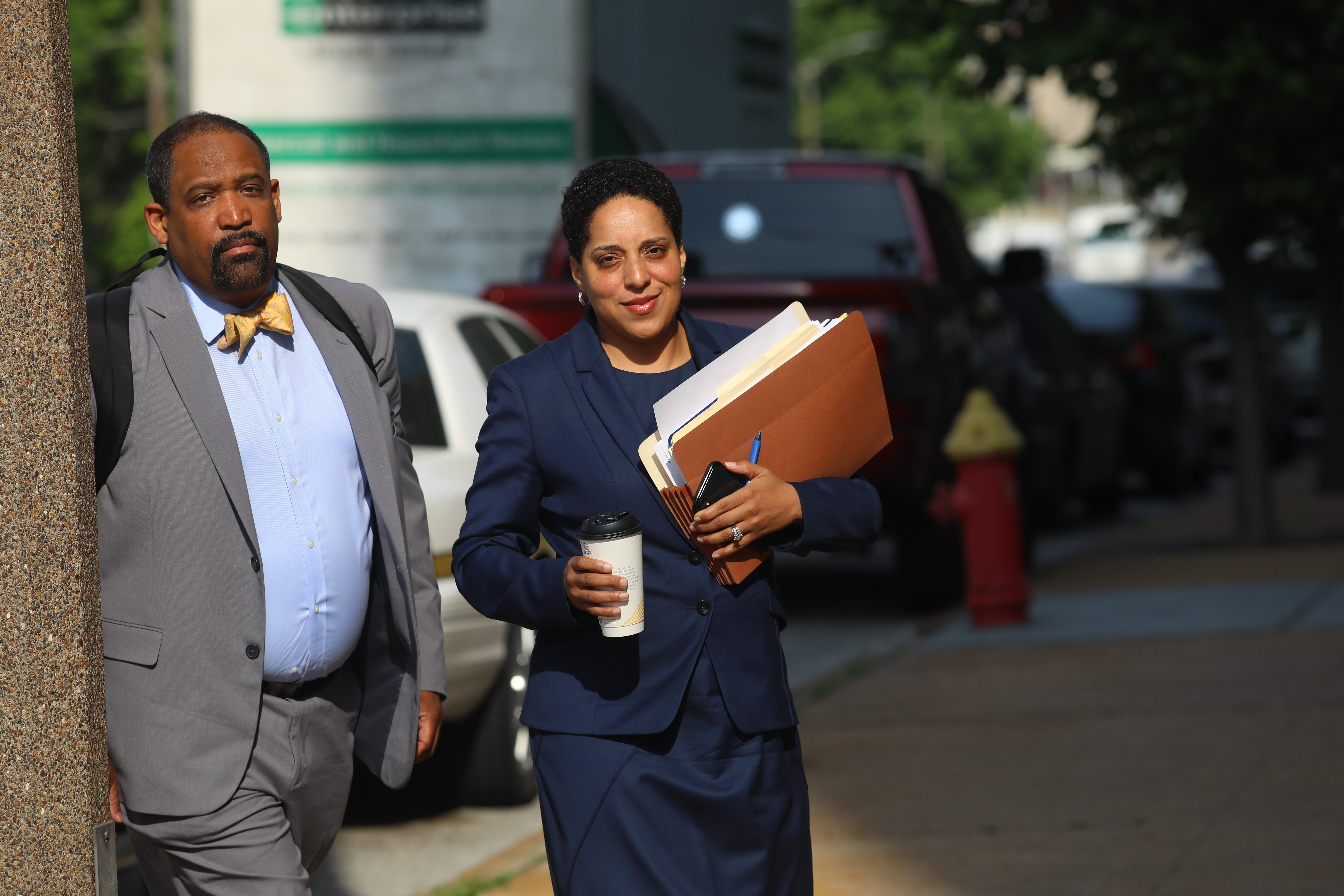 t. Louis Circuit Attorney Kim Gardner, right, and Ronald Sullivan, a Harvard law professor, arrive at the Civil Courts building for the third day of jury selection in Missouri Gov. Eric Greitens' invasion of privacy trial, Monday, May 14, 2018, in St. Louis. Prosecutors on Monday abruptly dropped the invasion-of-privacy charge against Greitens but said they still hope to pursue a case against him for allegedly taking a revealing photo of a woman with whom he has acknowledged having an affair. The surprise move came after the judge had granted a request by Greitens' lawyers to call Gardner as a witness for the defense. (Christian Gooden/St. Louis Post-Dispatch via AP)