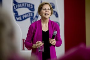 Democratic presidential candidate Sen. Elizabeth Warren, D-Mass., smiles during a rally this month at West Delaware High School in Manchester, Iowa. AP Photo by Andrew Harnik