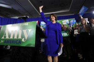 Democratic presidential candidate Sen. Amy Klobuchar, D-Minn., acknowledges applause at her election night party Tuesday in Concord, N.H. AP Photo by Robert F. Bukaty