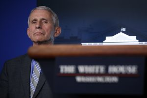 Dr. Anthony Fauci, director of the National Institute of Allergy and Infectious Diseases, listens during a briefing about the coronavirus in the James Brady Press Briefing Room of the White House on Wednesday in Washington. AP Photo by Alex Brandon